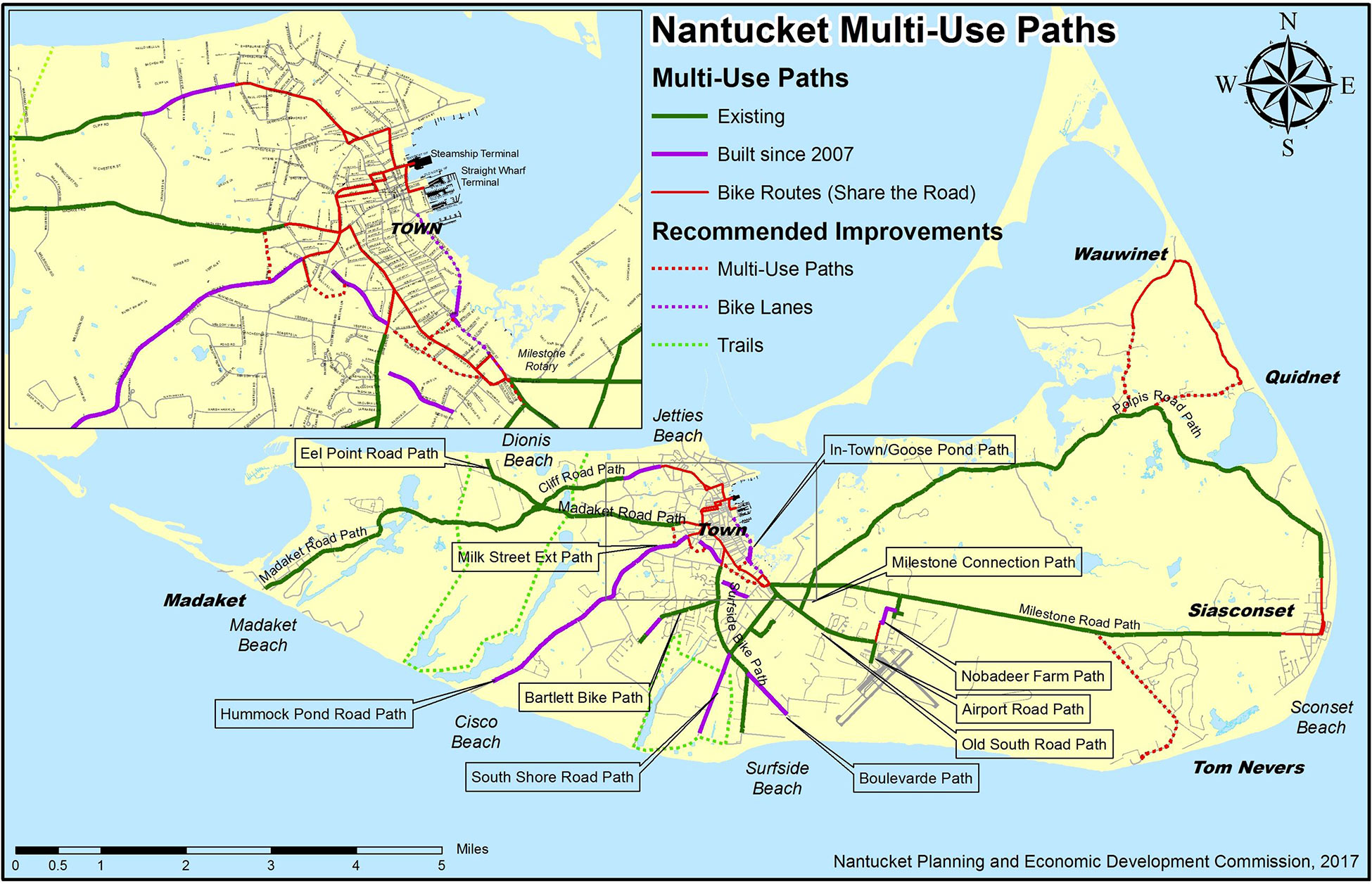 Nantucket Bike Paths Map